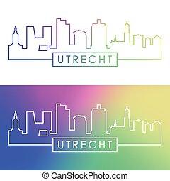 Utrecht skyline. Colorful linear style.