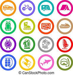Vacation, Recreation & Travel, icons set. Sport, Tourism. Vector illustration