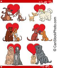 valentine cartoon illustration love set with dogs