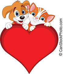 Valentine Cat and dog sign