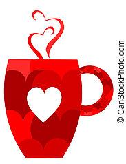 Red heart valentine mug. Vector illustration