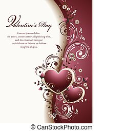 Vector illustration of an abstract cute Valentine's background with two hearts, curls, roses' buds and space for text.