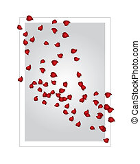 valentine's card with rose petals, scalable and editable vector illustration;