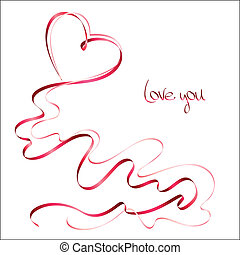 Valentine's day card with ribbons on white background