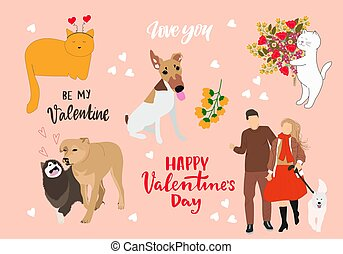 Valentine's Day cute animals set with dogs and cats.