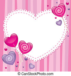 valentine's day greeting card with lollipops, vector