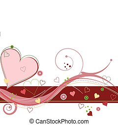 Abstract Valentines background filled with hearts and motion swirls on white backdrop.