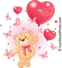 Valentine%u2019s Teddy Bear Hanging from a heart shape Balloons
