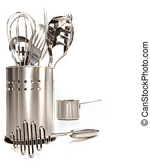 Variety of stainless utensils on white background