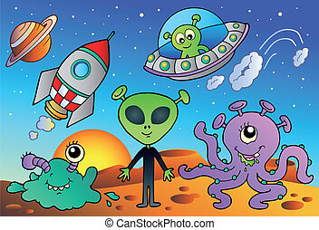 Various alien and space cartoons - vector illustration.
