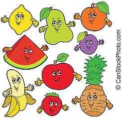 Various cartoon fruits