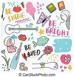 Various cute doodle element