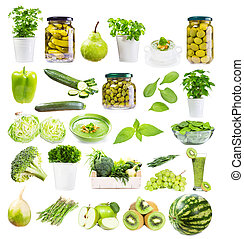 various green food isolated on white background