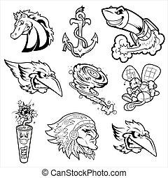 Various Mascot Characters Tattoos