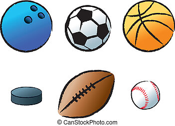 The objects used in various popular sports.