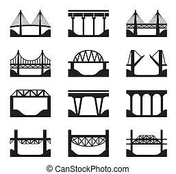 Various types of bridges - vector illustration