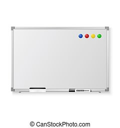 Vector 3d Realistic Blank Magnetic Whiteboard with Marker, Round Magnets and Board Sponge Closeup Isolated on White Background. Design Template for Mockup, Presentations, Training. Education Concept