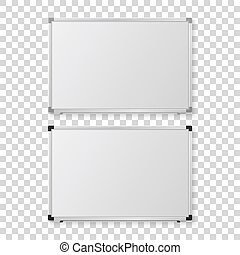 Vector 3d Realistic Blank Magnetic Whiteboard with Marker, Round Magnets and Board Sponge Set, Closeup Isolated. Design Template for Mockup, Presentations, Training. Education Concept