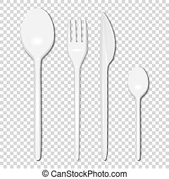 Vector 3d Realistic Cutlery - White Plastic Disposable Fork, Spoon and Knife Icon Set Isolated on Transparent Background. Top View. Design template, Mock up for Graphics, Branding Identity, Printing