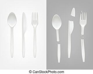 Vector 3d realistic disposable plastic spoon, fork, knife and broken cutlery