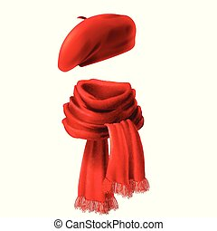 Vector 3d realistic silk red scarf and headwear - french hat, beret. Knitted fabric cloth, alpaca wool for winter. Scarlet velvet textile, cashmere unisex knitwear isolated on white background