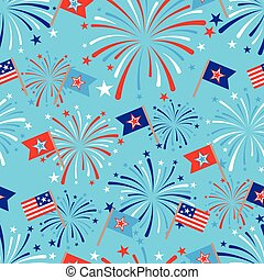 vector 4th of July seamless pattern with fireworks and flags