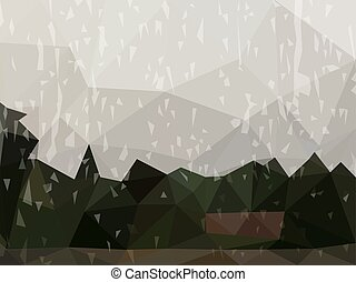 Vector Abstract Dark Background of Raining Day