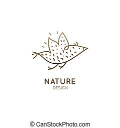 Vector abstract logo of flying bird. Minimal icon of sparrow in linear style. Simple outline emblem for business identity, badge for a travel, tourism, freedom, ecology concepts, health, yoga Center