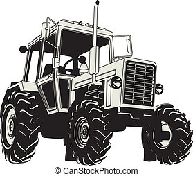 Vector Agricultural Tractor Silhouette Available EPS-8 vector format separated by groups for easy edit