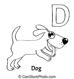 Vector alphabet letter D, coloring page. Dog