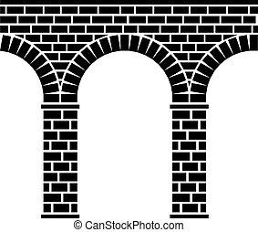 vector ancient seamless stone bridge viaduct aqueduct