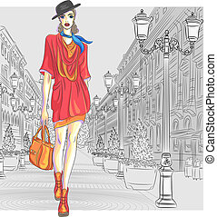 Attractive fashion girl in hat with bag in sketch-style goes for St. Petersburg