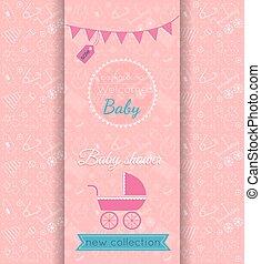 Vector baby girl pink card