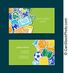 Vector back to school stationery business card template illustration