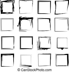 A set of 16 original isolated vectorised grunge background frame borders made from india ink brush strokes. Can be re-sized and colored.
