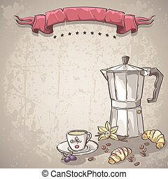 Vector background with a cup of coffee, coffee and croissants.