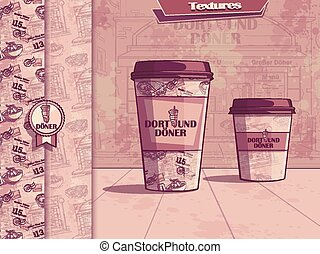 Vector background with a cup of coffee