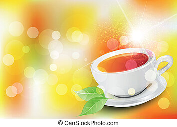 vector background with a cup of tea