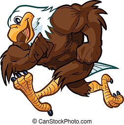 Vector cartoon clip art illustration side view of a tough but friendly and cute bald eagle mascot running.