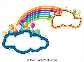 vector balloons and rainbow