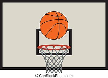 vector illustration of basketball net and backboard set