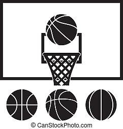 vector collection of basketball net, backboard set and basketball balls