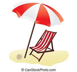 vector beach umbrella and chair