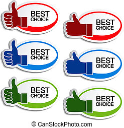 Vector best choice oval stickers with gesture hand - illustration