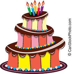 birthday chocolate cake with burning candles