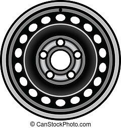 vector black car iron wheel rim