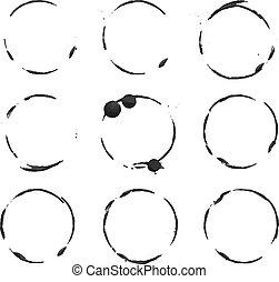 Vector black circles prints paint on white paper