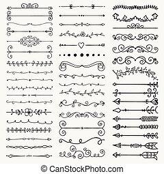 Vector Black Hand Drawn Dividers, Arrows, Swirls