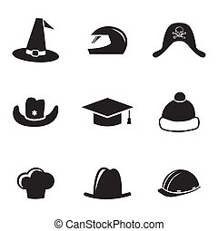 Vector black helmet and hat icons set on white background