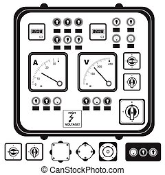 Vector black illustration of electric control panel with elements: fuse, switch, indicator light